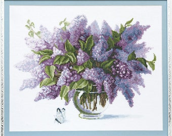 Counted Cross Stitch Kit, Scented lilac, Floral cross stitch pattern, Needlepoint kit, Aida 14