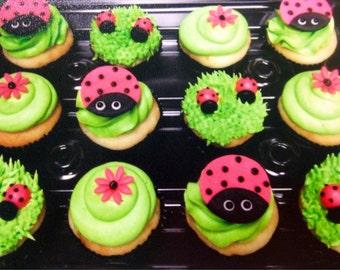 Lady Bug Fondant Cupcake Toppers