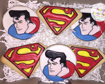 Superman Logo Cookies - 1 DOZEN (12 Cookies)