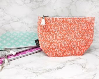 Makeup Bag - Mothers Day Gift - Cosmetic Bag- Best Friend Gift - Toiletry Bag - Rose Print - Girly Gift- Orange Floral