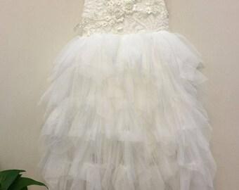 White Flower Girl Dress Lace Flower Girl Dress First Communion Dress White Tutu Dress Tulle dress Bridesmaid Rustic Wedding Beach Wedding
