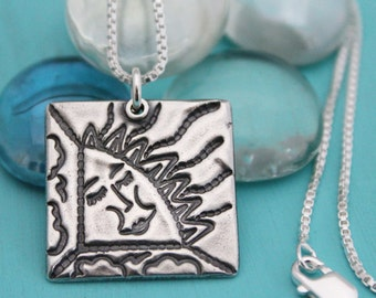 Sterling Silver Square Sun Necklace