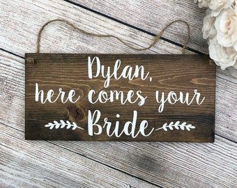 """Personalized Hand Painted Wood Wedding Sign Name & """"Here Comes Your Bride"""" - Ring Bearer Sign, Flower Girl Sign, 12""""x5.5"""" Dark Walnut/Gray"""