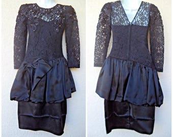 1980s FORMAL DRESS. 1980s Party Dress. Lace and Satin Dress. BIG Bow. Bubble Skirt Dress. 80s Prom Dress. Avant Garde Dress. Bubble Hem. S