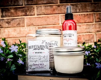 GIFT BUNDLE--16oz Candle--8oz Candle-Waxmelt--Room Spray
