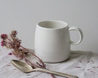 Chalk espresso mug - satin matt white mug - ceramic mug - coffee mug - handthrown pottery - childrens mug - matt glaze - porcelain
