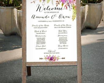 Muestra del programa para imprimir de boda, firmar programa de boda púrpura lavanda lila violeta verde, archivo digital de programa de ceremonia de acuarela - PGF-34