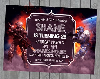Halo Birthday Invitation - XBOX Birthday Invitation - Gamer Birthday Invitation