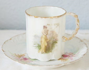 Beautiful Antique Porcelain Cup and Saucer, Portrait and Flower Decor, Handpainted, Rosenthal Monbijou