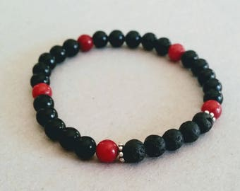 Red and Black Gemstone 6mm Diffuser Bracelet with Lava Beads