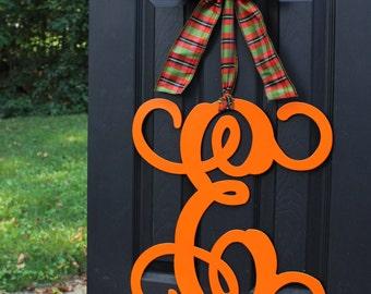 Monogram Wreath - Fall Wreath - Halloween Decoration - Couples Gift