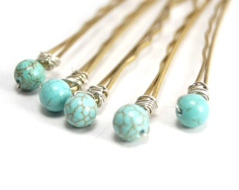 Bridal Hair Pins,  Turquoise Blue Bobby Pin, Blue Gemstone Hair Pins- 5 pcs