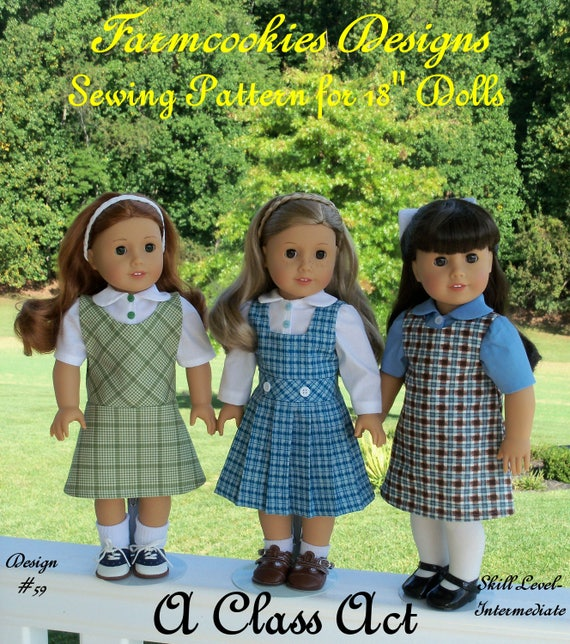 """18"""" Size / PRiNTED Sewing Pattern: A CLASS ACT /School Uniform Pattern Fits  American Girl ® or Other 18"""" Dolls"""