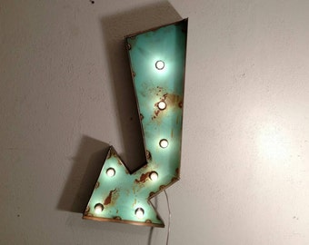 Teal marquee Arrow - light up shabby chic wedding decor - vintage style marquee sign