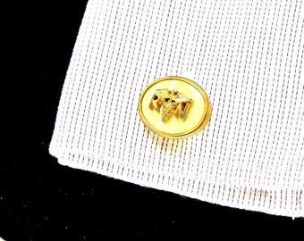 R N Caduceus Mother of Pearl Gold Tone Cuff Links Anson Cuff links Vintage Cuff Links Medical Cuff Links Anson RN Cuff Links