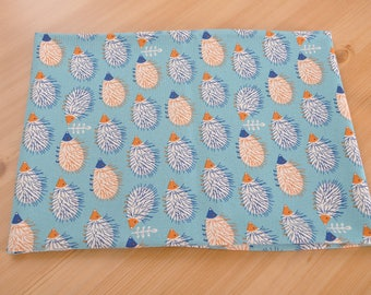hedgehog cotton fabric 1/2 yard blue