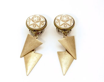 "1/2"" Dangle Plugs Bronze Triangle Cream Gold Star 5/8, 9/16 inch Gauges 000g 7/16 Dangly Ear Plugs 11mm 12mm 14mm 16mm"