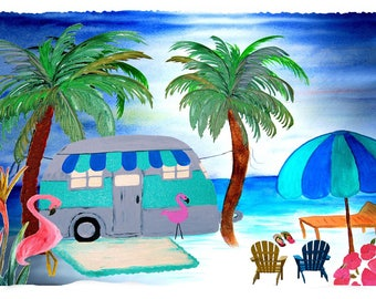 Air stream retro camper on the beach with palm trees traveling throw blanket from my original art.