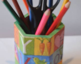 hexagonal wooden pencil holder