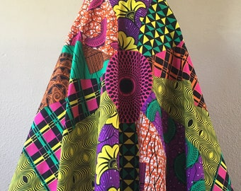 Beautiful African Wax Print High Waisted Skirt A Line Circle Cut Bright Multi Color Print 100% Cotton