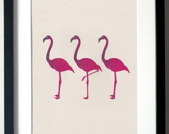 Flamingos. A4 Digital Print, Wall Art, Illustration.