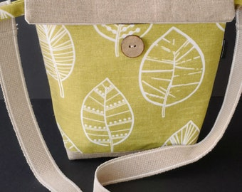 Linen leaf messenger bag