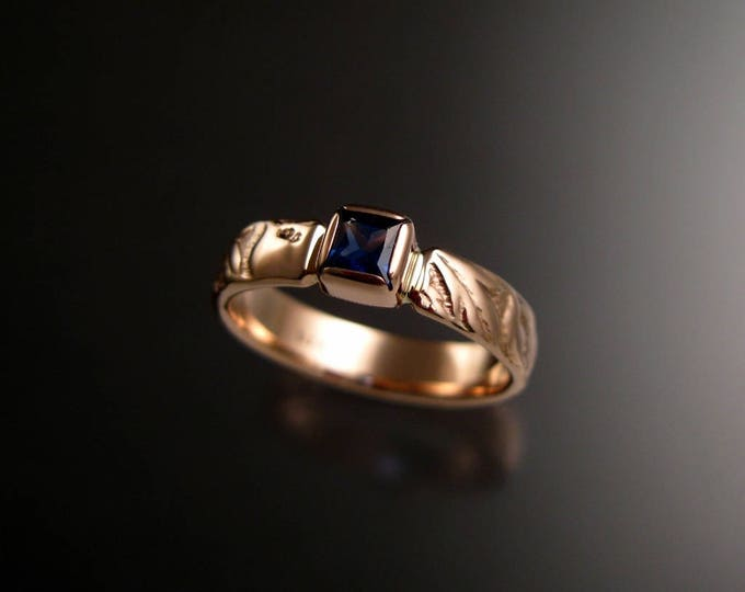 Sapphire Square cut Cornflower blue Wedding ring 14k Rose Gold Victorian Flower and Vine pattern ring made to order in your size