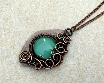 Turquoise stone necklace Boho Copper wire necklace Boho Copper metalwork necklace Boho Turquoise wire necklace Boho Wire wrapped necklace