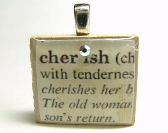 Cherish - vintage dictionary Scrabble tile with Swarovski crystal