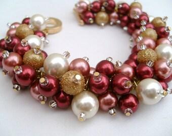Marsala Red and Ivory Pearl Beaded Bracelet, Wedding Jewelry, Bridesmaid Bracelet, Cluster Bracelet, Pearl Bracelet, Chunky Jewelry, Wine