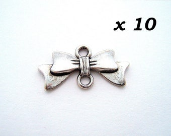 10 connectors silver ribbon bow aged 10 x 20 mm - L10630