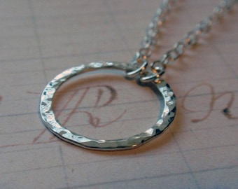 Eternity Circle Necklace in Sterling Silver Hammered Hoop in Medium Size