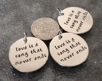 """1 - """"Love is a Song that Never Ends"""" pendant, New Series, Silver plated necklaces, Family necklace, Romance Charm,  Love Jewelry"""