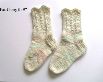 "Socks hand knit. Foot length 9"". Reinforced heel .Slipper socks.  Ready to ship"