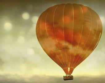 Hot air balloon photography - red hot air balloon fine art photo, Night Flight,8x10