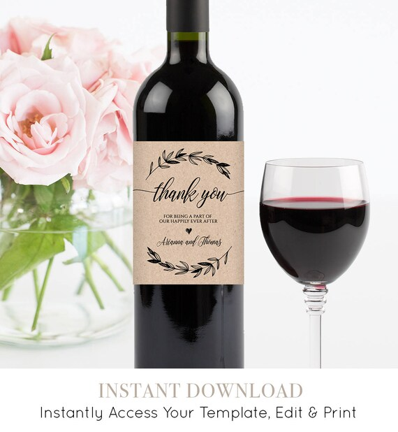 Wedding Wine Bottle Label, Printable Wine Label Template, 100% Editable, Wine Wedding Favor, Custom Label, Instant Download, DIY #023-102WL