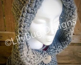 Crochet Gray Hooded Cowl - Adult - SALE!