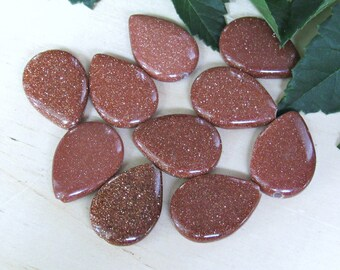 Drop Goldstone beads, set of 10, teardrop beads, sparkle beads, shiny beads, drop beads, gold beads, jewelry supplies, bracelet beads