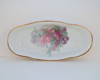 Vintage CT Altwasser oval bowl with cherry motif