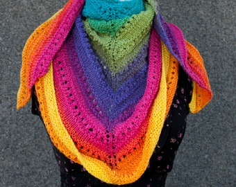 Handknitted Shawl in Rainbow Colours