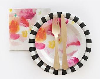 Floral Escape Plates, Easter Dinner, Baby Shower Plates, Bridal Shower Plate, Flower Plate, Garden Party