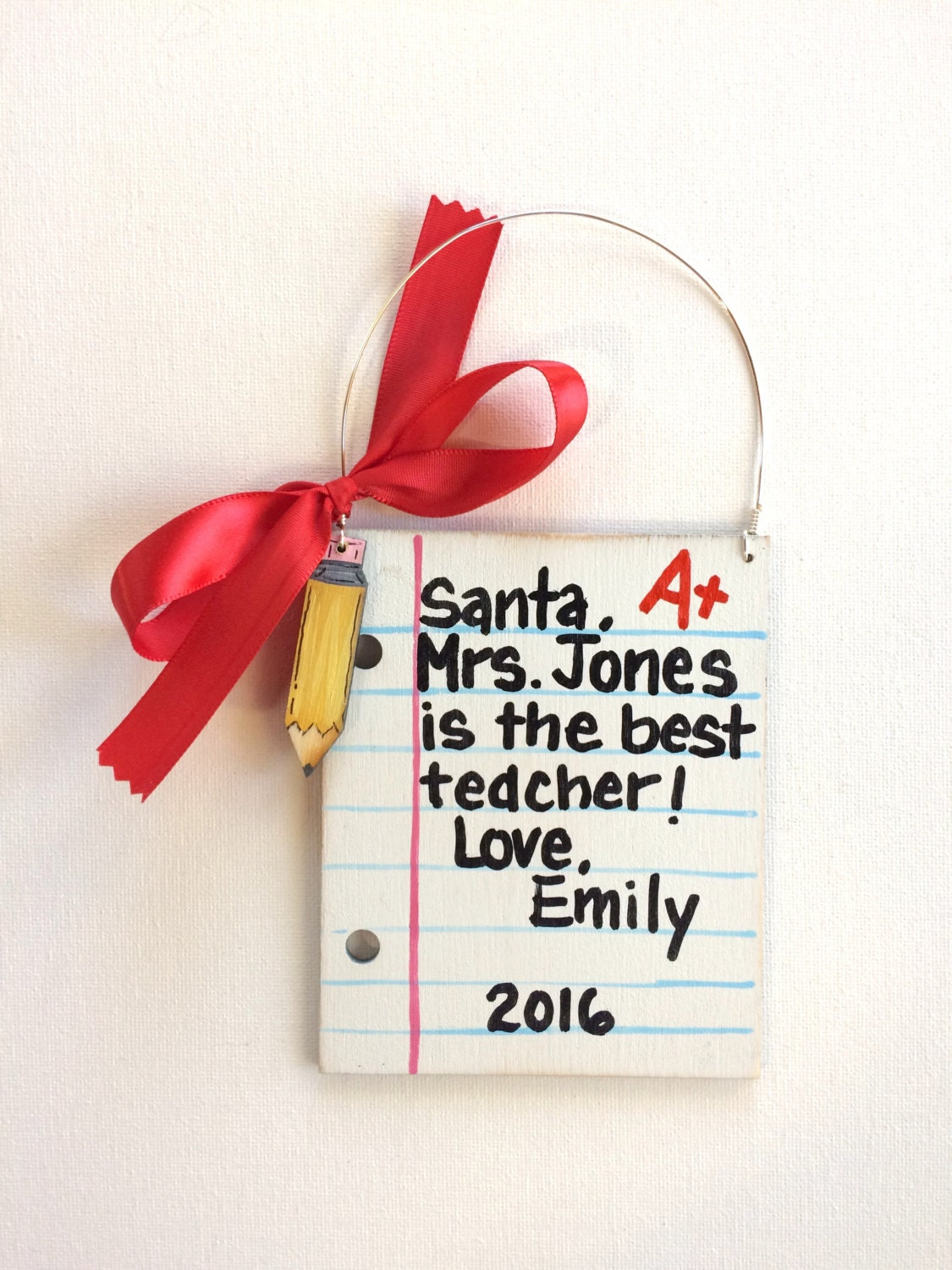 Teacher Ornament Student Teacher Ornament Letter Ornament