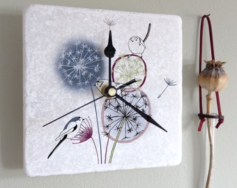 Dandelion And Birds Marble Clock, Home decor, Decorative clock, Gift for her, Unique wall clock, Square Wall Clock, Dandelion Wall Clock