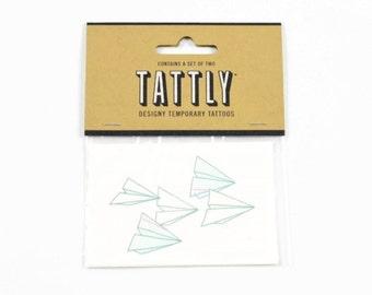 PAPER PLANES Temporary TATTOOS (Set of 2 Temporary Tattoos) - Tattly Paper Planes Temporary Tattoos (5.1cm x 7.6cm)