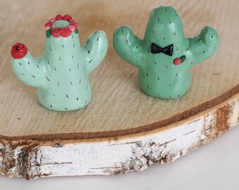 Cactus wedding cake topper - Bride and groom - Cake topper figurine - Cactus figurine - Cactus wedding -His and hers decorations -Mr and Mrs