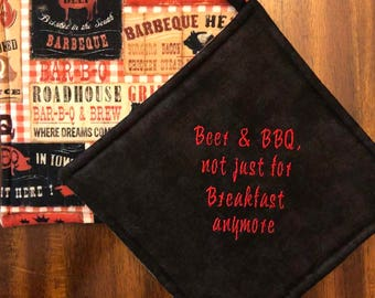 BBQ Embroidered Hot Pads/Pot Holders