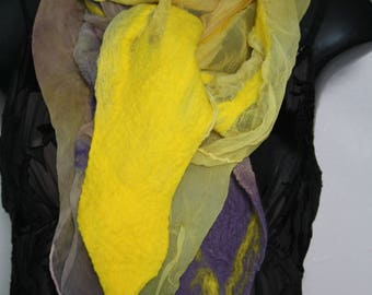 Hand dyed purple and lemon silk chiffon nuno felted scarf/wrap