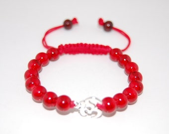 Om Bracelet,Red Coral 10mm Beads,Pretty Bracelet,Drawstring,Shamballa Bracelet,Man,Woman,Healing,Prayer,Good Luck,Yoga,Protection,Meditation