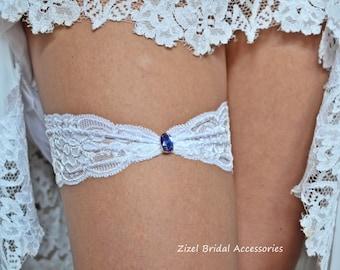 1 Wedding Garter, Blue Wedding Garte, Bridal Garter Set, Rhinestone Garter, Lace Royal Garter, Something Blue,Toss Garter, White lace Garter