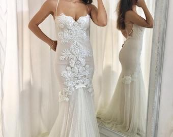Lace Mermaid Wedding dress, Low Back Wedding, Mermaid Wedding Gown, Unique Wedding Dress, Bridal Dress, Custom made wedding dress